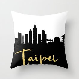 TAIPEI TAIWAN DESIGNER SILHOUETTE SKYLINE ART Throw Pillow