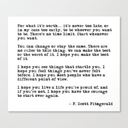 For what it's worth - F Scott Fitzgerald quote Leinwanddruck