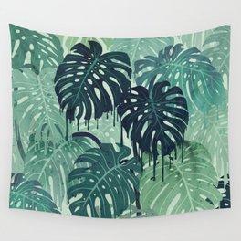 Monstera Melt (in Green) Wall Tapestry