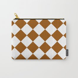 Large Diamonds - White and Brown Carry-All Pouch
