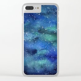 Galaxy Space Sky Watercolor Cosmic Art Clear iPhone Case