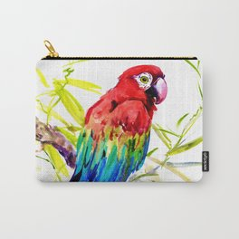Parrot Scarlet Macaw, Tropical Birds, Jungle Red, Green Blue bright colored tropical artwork Carry-All Pouch