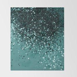 Teal Mermaid Ocean Glitter #3 #shiny #decor #art #society6 Throw Blanket