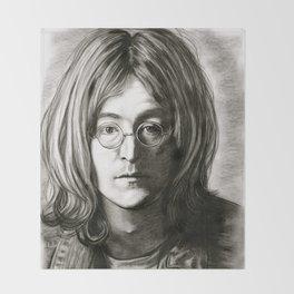 John in Black and White Throw Blanket