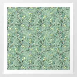 Pattern of pine branches and needles Art Print