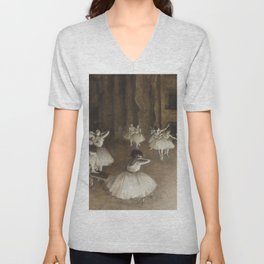 Ballet Rehearsal on Stage by Edgar Degas Unisex V-Neck