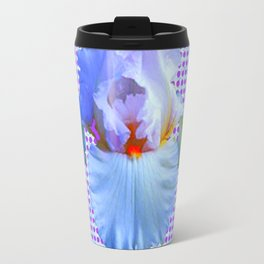 AWESOME BLUISH-WHITE PASTEL IRIS OPTICAL ART Travel Mug