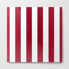 Bright Jester Red and White Wide Vertical Cabana Tent Stripe Metal Print