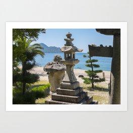 Shrine on a Japanese beach Art Print