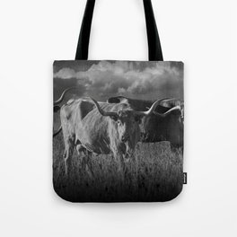 Texas Longhorn Steers under a Cloudy Sky in Black & White Tote Bag