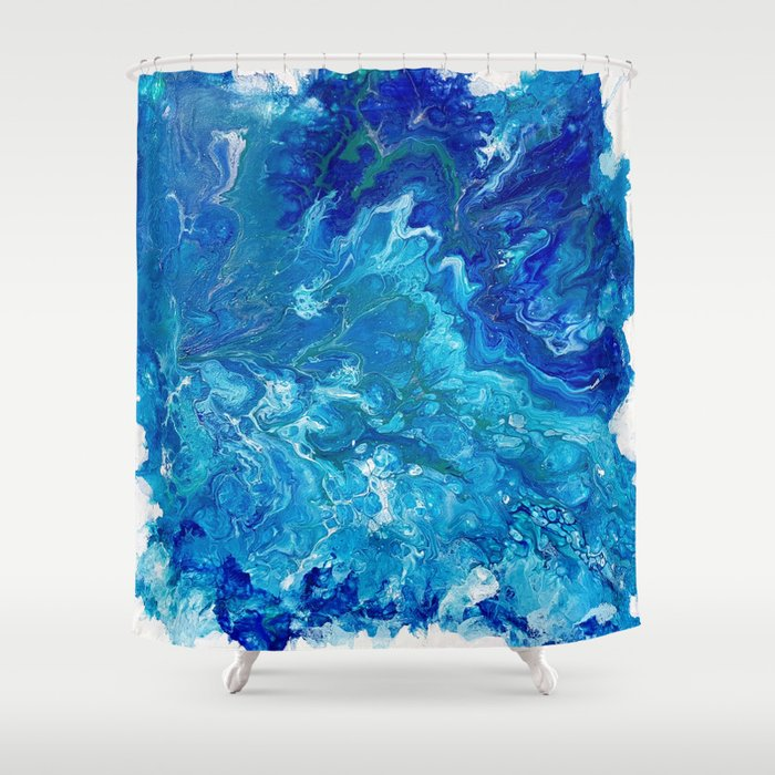 Dark Ocean Blue Shower Curtain