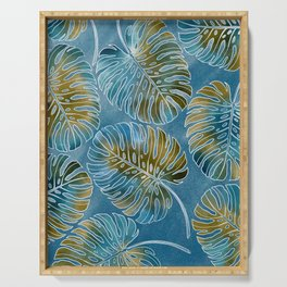 Monsteras leaves or Swiss cheese plant artfully painted in different colors Serving Tray