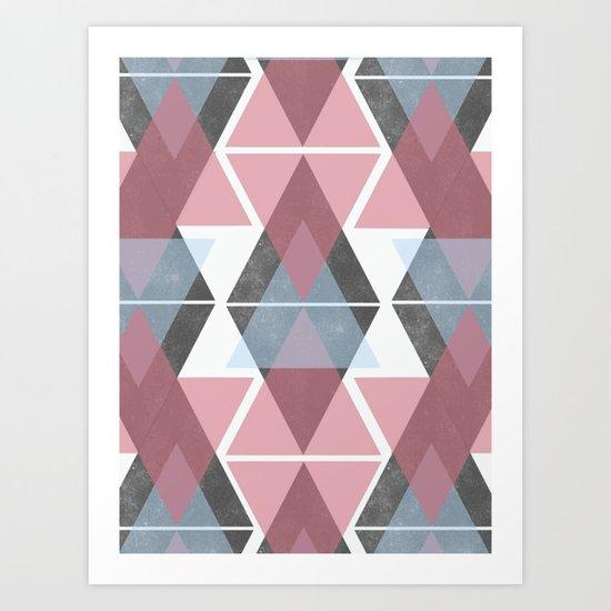 Geometric triangle pattern art Art Print