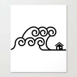 Tsunami Giant Wave Over House Canvas Print
