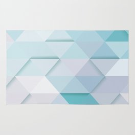 Pale Mint Blue Triangles Rug