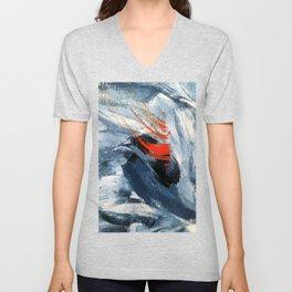 Blue and Orange Brushstroke Abstract Painting Unisex V-Neck