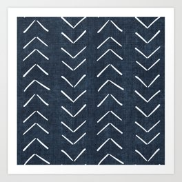Mud Cloth Big Arrows in Navy Art Print