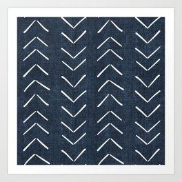 Mud Cloth Big Arrows in Navy Art Print