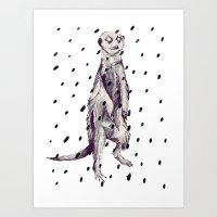 Meerkat in the Rain Art Print