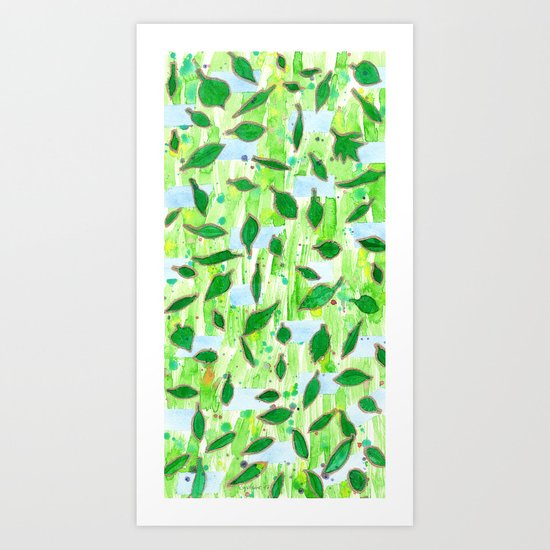 Modern Fresh Leaves Pattern in High Format Art Print