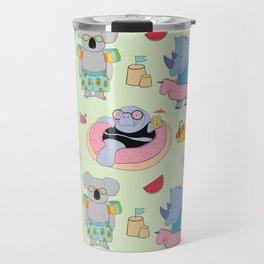 Beach animals - green Travel Mug