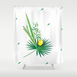 Happy Sukkot Autumn Jewish Holiday Lulav and Etrog Watercolor Shower Curtain