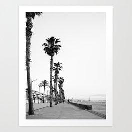 Playa de Valencia   Black and white photograph of the boulevard & beach   travel art Art Print