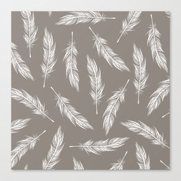 White Feather Pattern Canvas Print