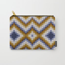 Patchwork pattern - sand and blue Carry-All Pouch