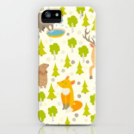 Cute animals seamless pattern. Cute pattern for kids. iPhone Case