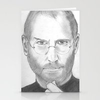 steve jobs Stationery Cards featuring Steve Jobs by Feroz Bukht