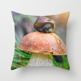 Leccinum on grass with snail Throw Pillow