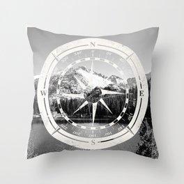 Mountain and Compass Throw Pillow