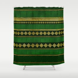 Celtic Knot Decorative Gold and Green pattern Shower Curtain