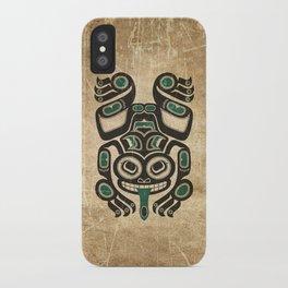 Teal Blue and Black Haida Spirit Tree Frog iPhone Case