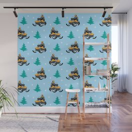 Snowmobile Pattern Wall Mural