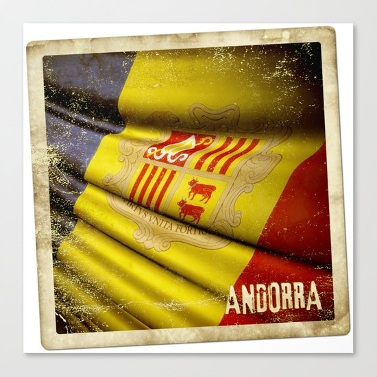 Grunge sticker of Andorra flag Canvas Print