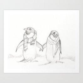 Winter Penguins Art Print