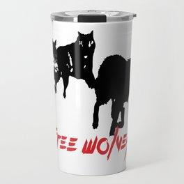Running Wolves [White] Travel Mug