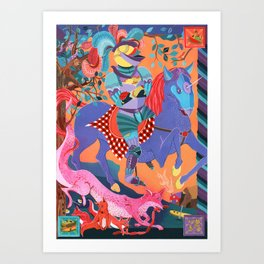 Picnic Knight Art Print