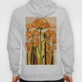 70s, Orange California poppies, mid century, 70s retro, flowers Hoody