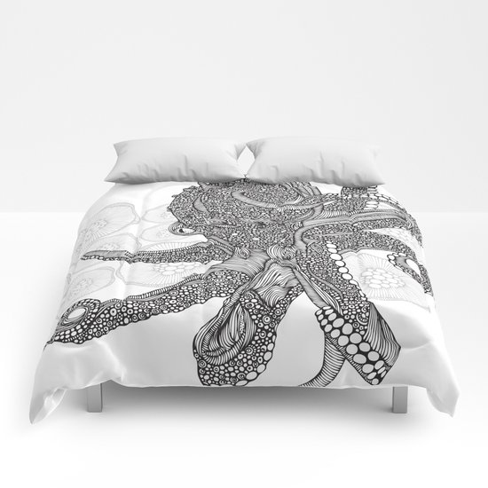 Octopus Bloom black and white Comforters