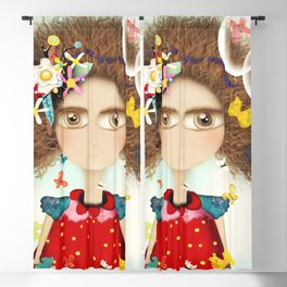 Doll Butterfly Balloons Afro Hair Flowers Blackout Curtain
