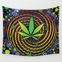 weed Wall Tapestries featuring Weed Vortex by Prism Code