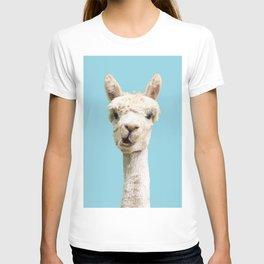 Cute alpaca portrait on blue sky illustration T-shirt