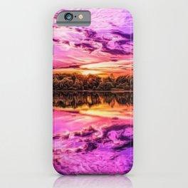 Deep Purple Lake Sunset Landscape iPhone Case