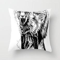 Angry Fox (b&w) Throw Pillow