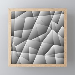 Exclusive light monochrome pattern of chaotic black and white geometric shapes. Framed Mini Art Print