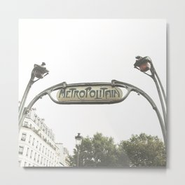Paris Photography Metropolitain Sign Metro City France Europe Metal Print