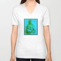 budi satria kwan V-neck T-shirts featuring Jade Kwan Yin by Jan4insight